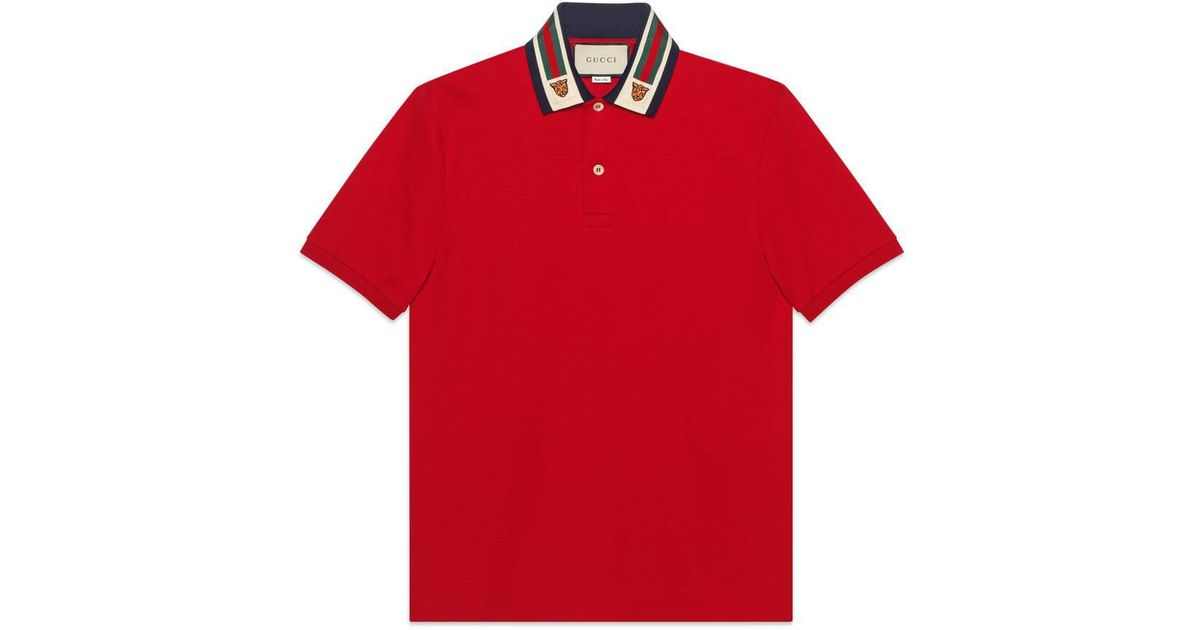 eaa3cb989 Gucci Cotton Polo With Web And Feline Head in Red for Men - Lyst