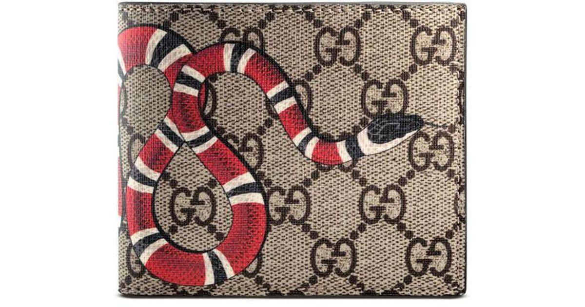 96bb203be Gucci Kingsnake Print Gg Supreme Wallet in Natural for Men - Lyst