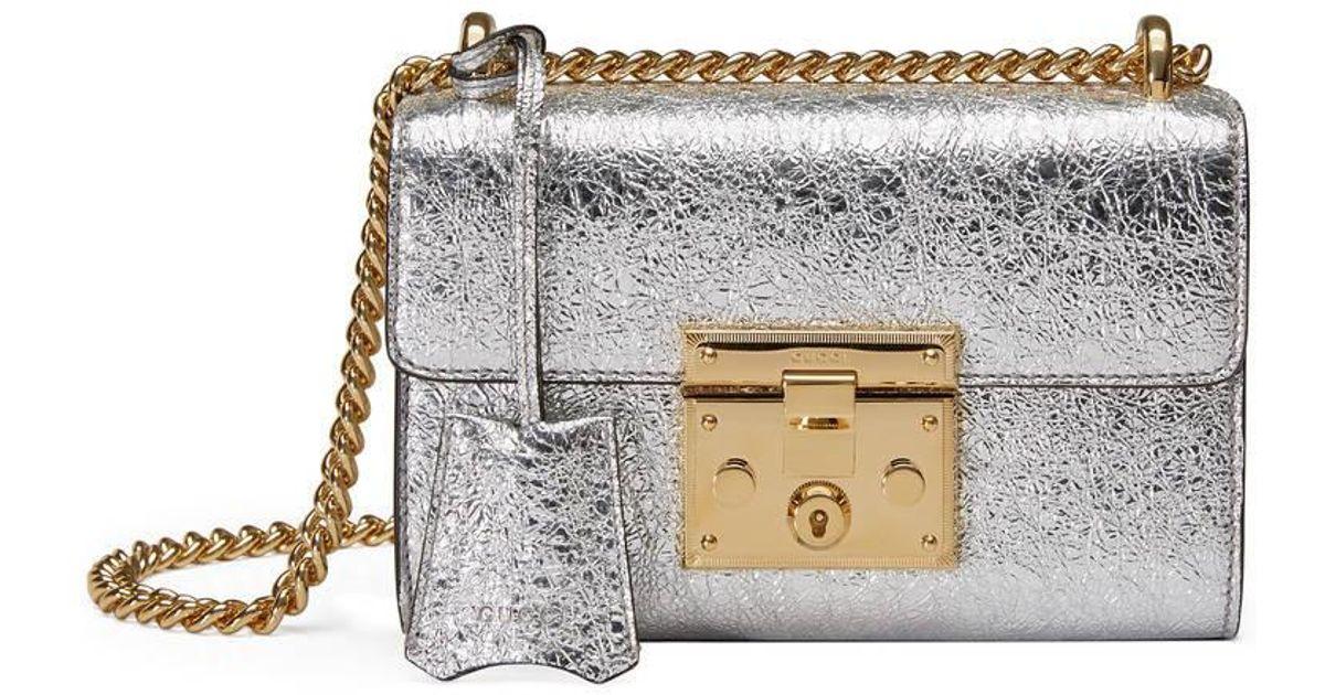 72f6433472c Lyst - Gucci Padlock Metallic Leather Shoulder Bag in Metallic