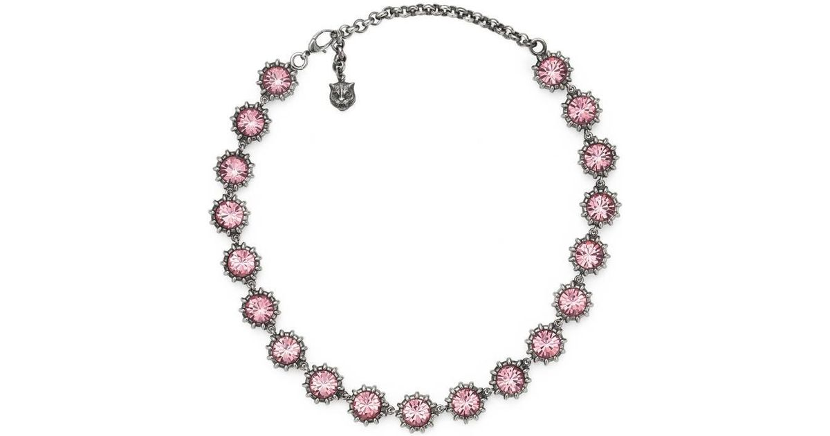 82d86364e Gucci Necklace With Crystals in Pink - Lyst