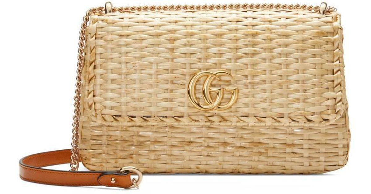 4d8b31eadaa Lyst - Gucci Small Linea Cestino Glazed Wicker Shoulder Bag in Natural