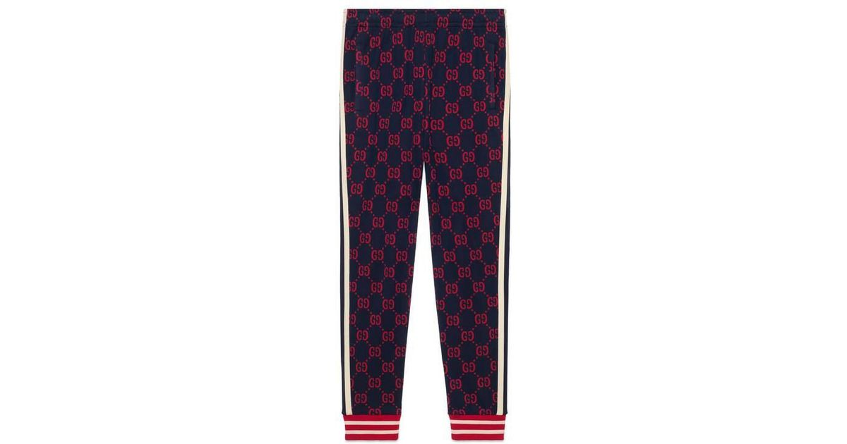 ccf79a873 Gucci GG Jacquard Track Bottoms in Blue for Men - Lyst