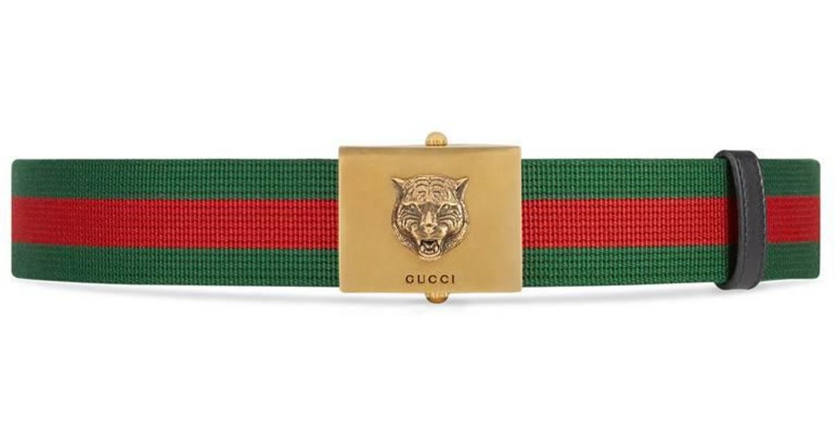 cf97aff39ca Lyst - Gucci Embroidered Web Belt in Green for Men