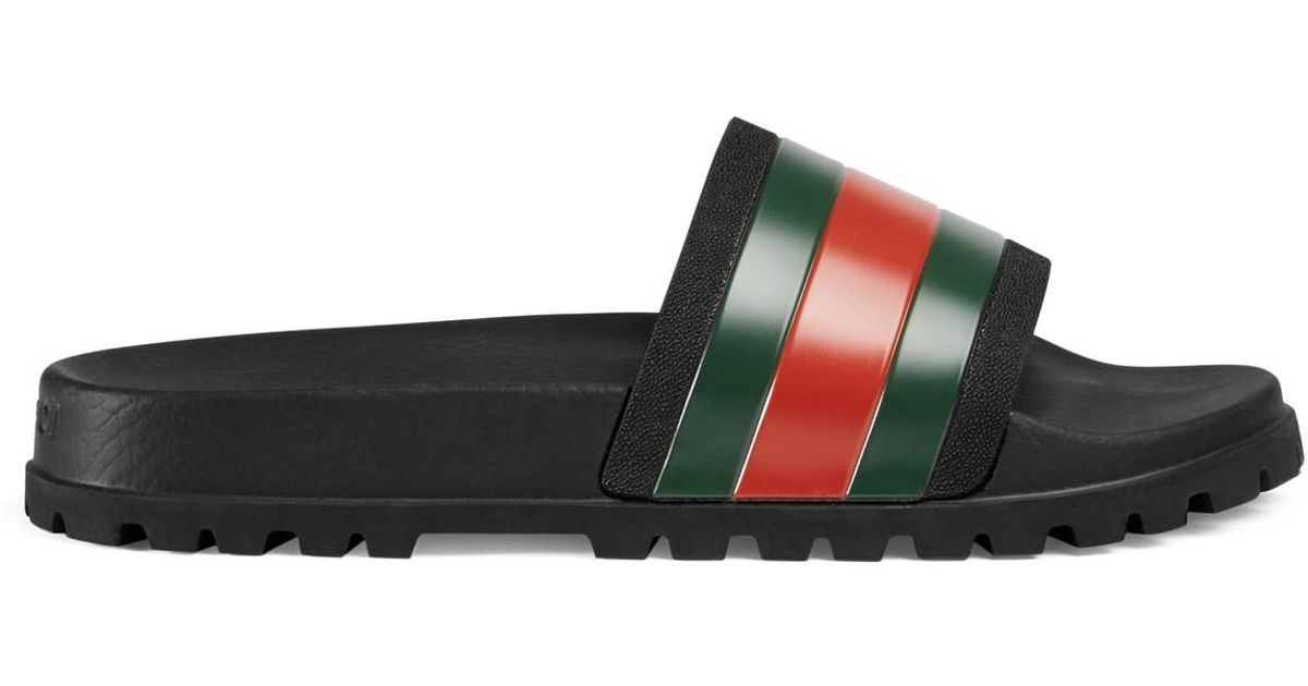 f6a1b192760f Lyst - Gucci Web Slide Sandal in Black for Men
