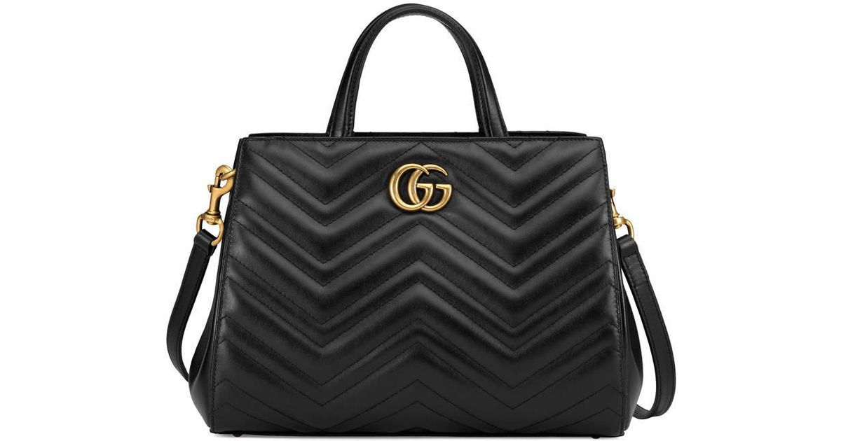 ddbf1bc66041 Gucci GG Marmont Matelassé Leather Top Handle Bag in Black - Lyst