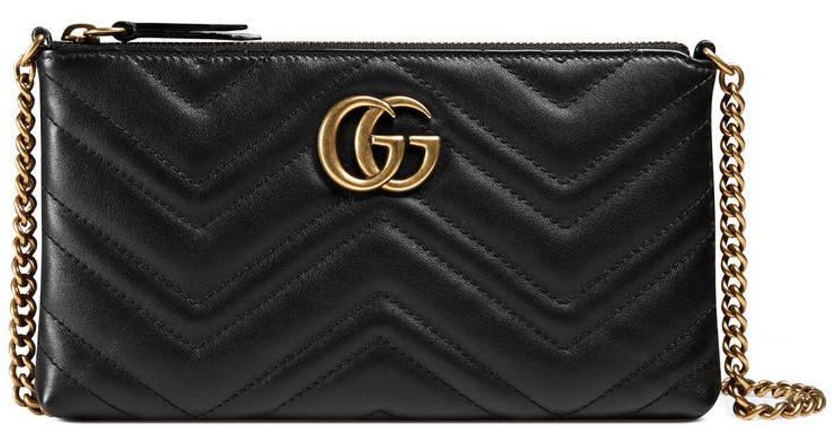 afe02336b9c Lyst - Gucci Gg Marmont Mini Chain Bag in Black