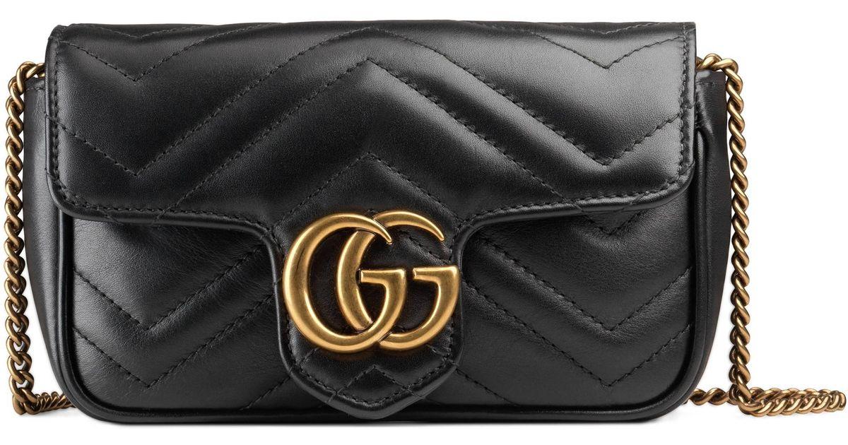 eb221668aaf Gucci Gg Marmont Matelassé Leather Super Mini Bag in Black - Lyst