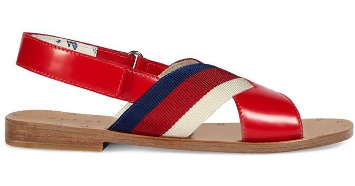 c58274a1b Gucci - Children's Leather Sandal With Web in Red - Lyst