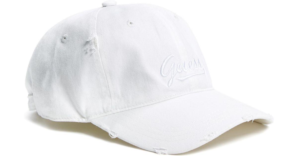 Lyst - Guess Script Logo Baseball Hat in White 23e33f8af81