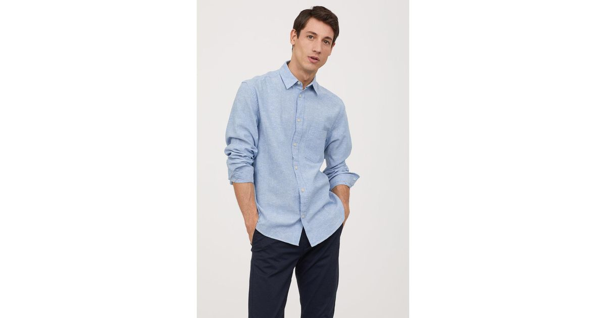 6ddc4300f5 Lyst - H M Linen-blend Shirt Regular Fit in Blue for Men