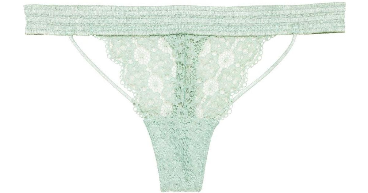 03ee8adc844 H&M Lace Thong Briefs in Green - Lyst