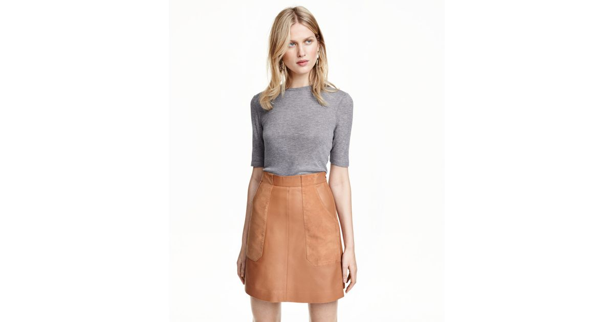 h m leather skirt in beige lyst