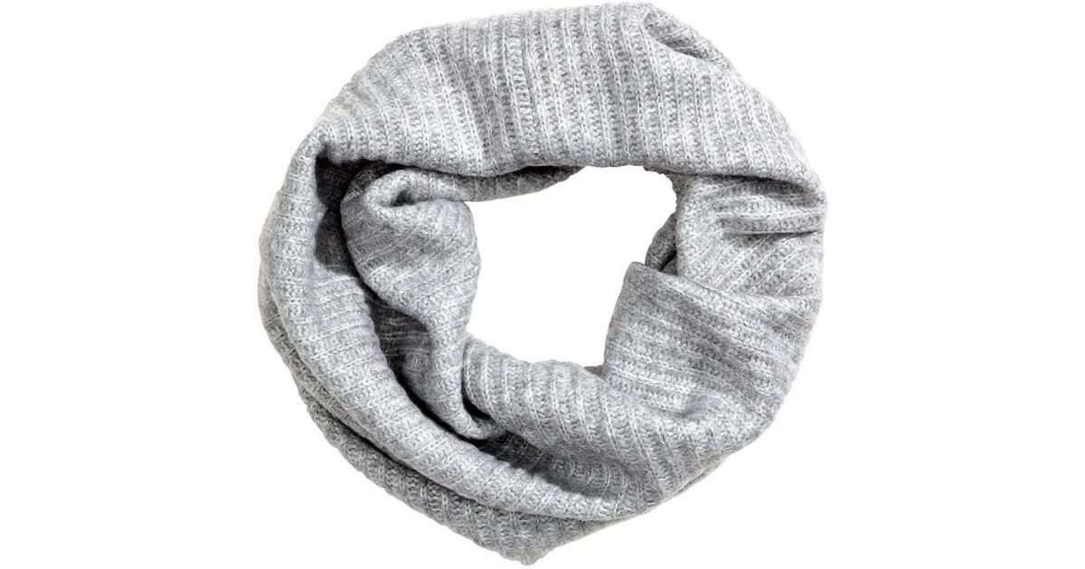 42695b0981a Lyst - H M Ribbed Tube Scarf in Gray