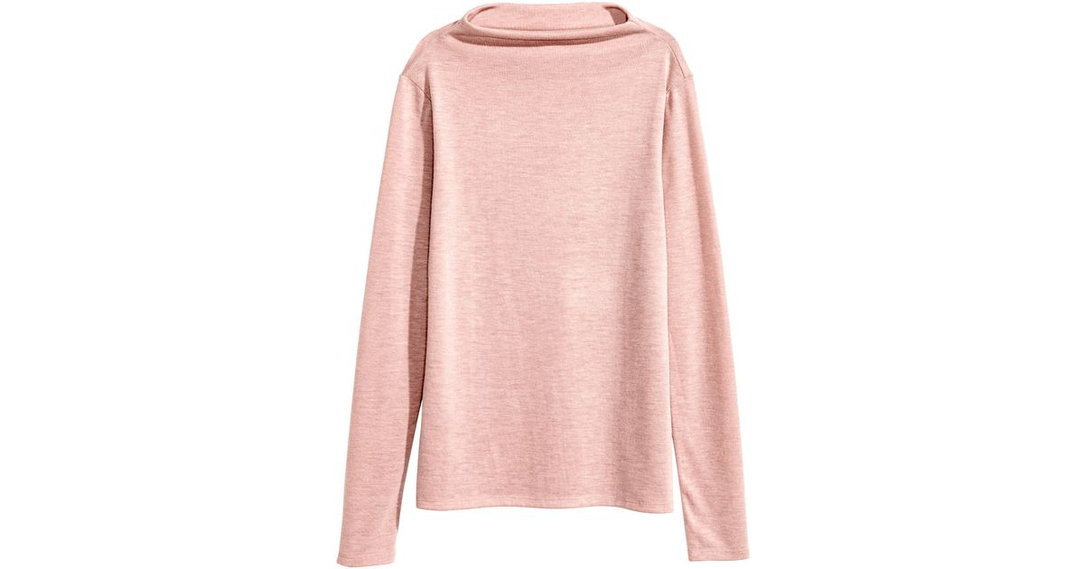 3cff42d015269 Lyst - H M Turtleneck Top in Pink