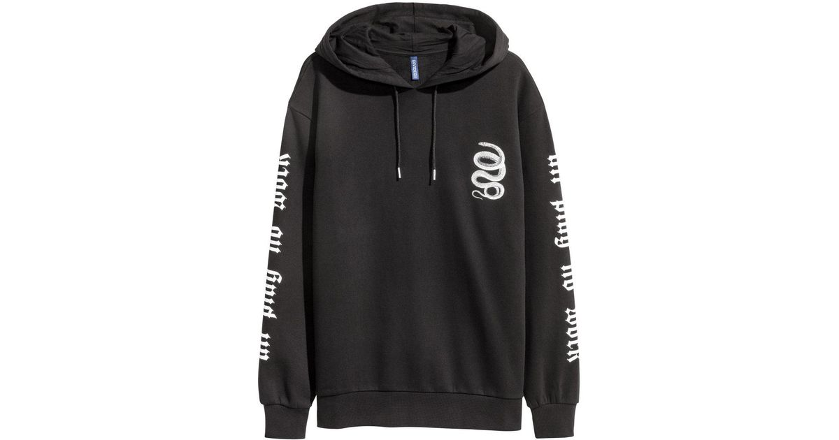 4e48bdc755194 H&M Printed Hooded Top in Black for Men - Lyst