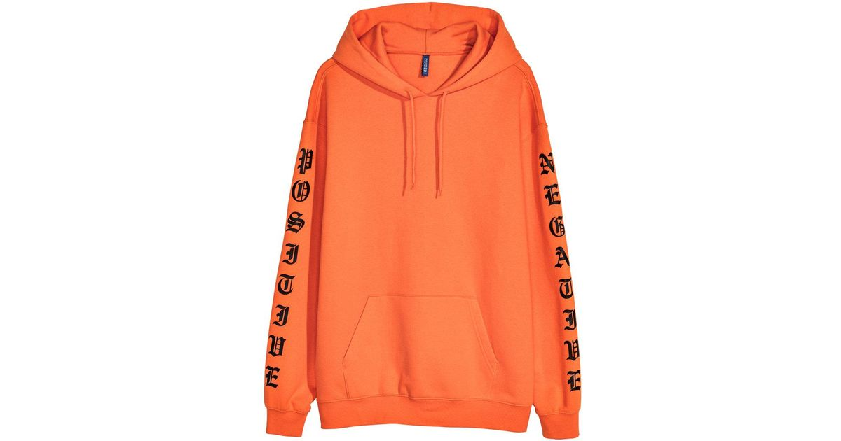 214af0e50 H&M Hooded Top With A Print Motif in Orange for Men - Lyst