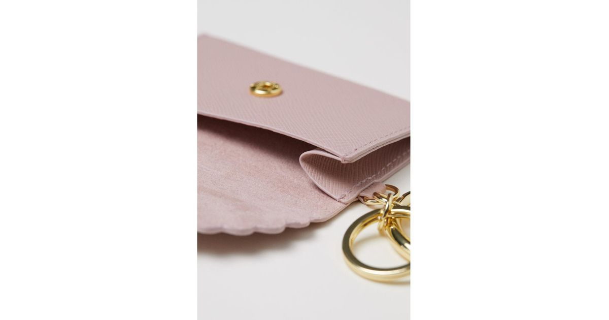 lyst hm keyring with card holder in pink - Card Holder With Keyring