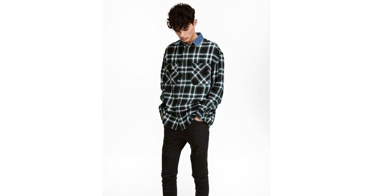 4863b05b77 Lyst - H M Denim-collared Flannel Shirt in Black for Men