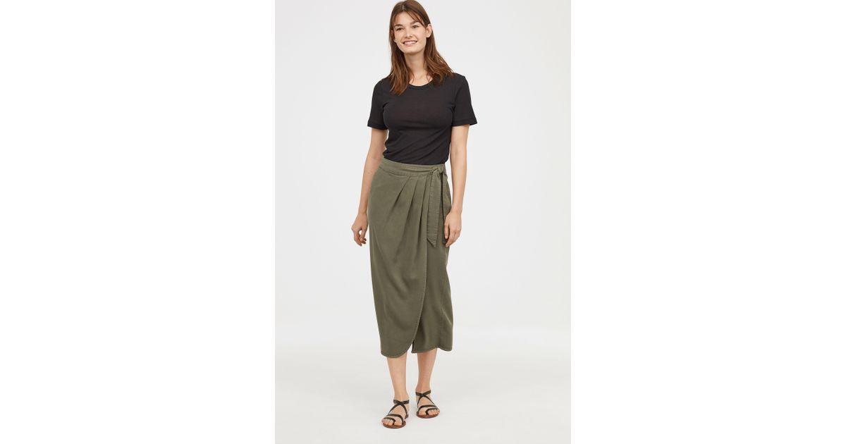 008461cae8 H M Lyocell-blend Wrapover Skirt in Green - Lyst