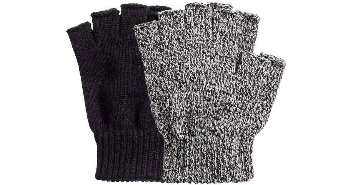 ce20874a6bc Lyst - H M 2-pack Fingerless Gloves in Black for Men