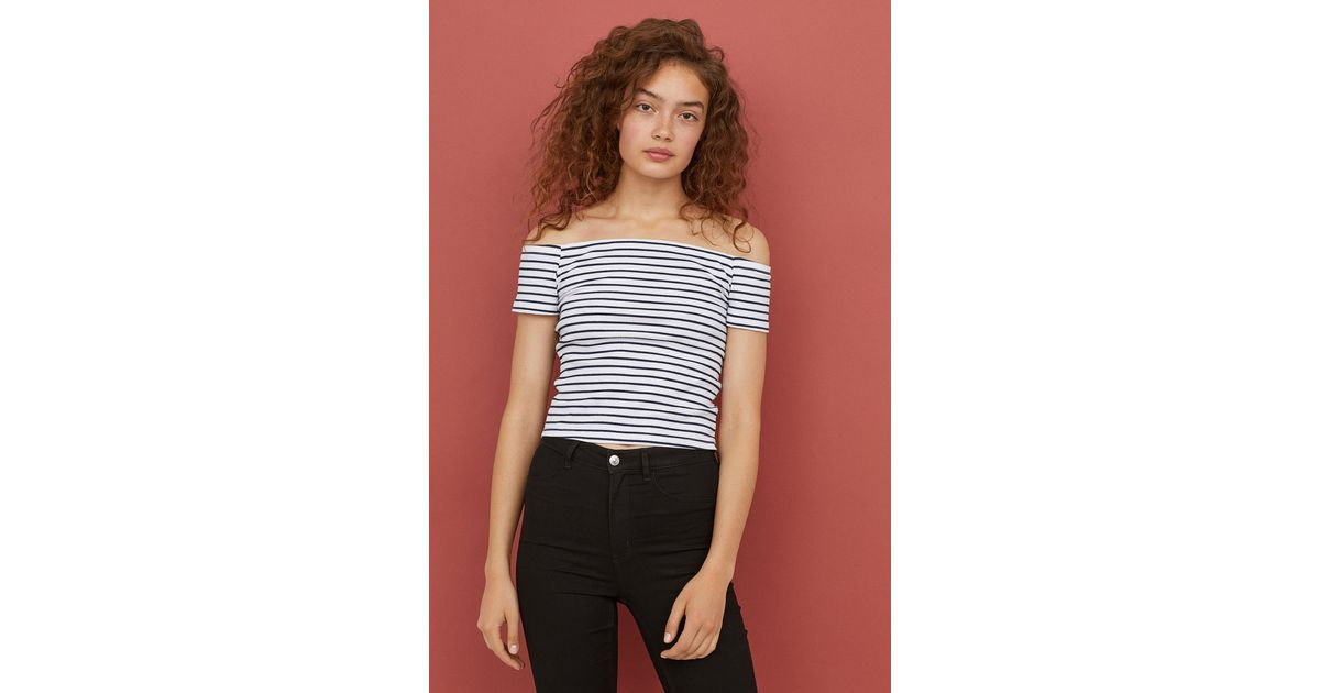 f18c6aff60ce83 H M Ribbed Off-the-shoulder Top in Blue - Lyst