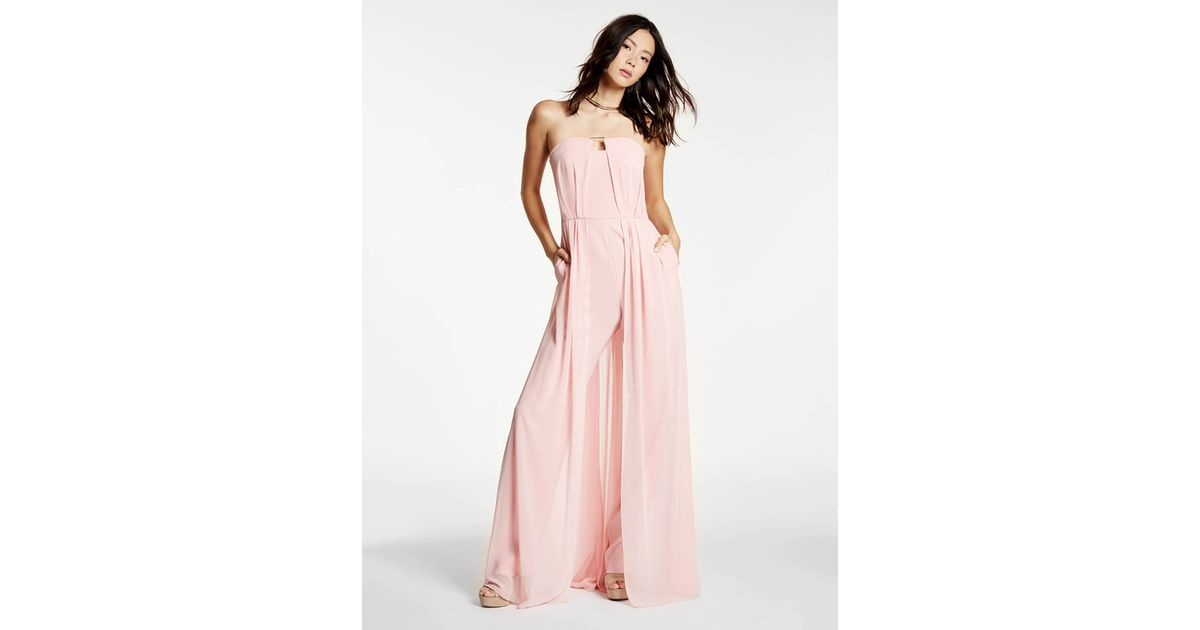 d78d0527d2f Lyst - Halston Crepe Jumpsuit With Georgette Overlay in Pink