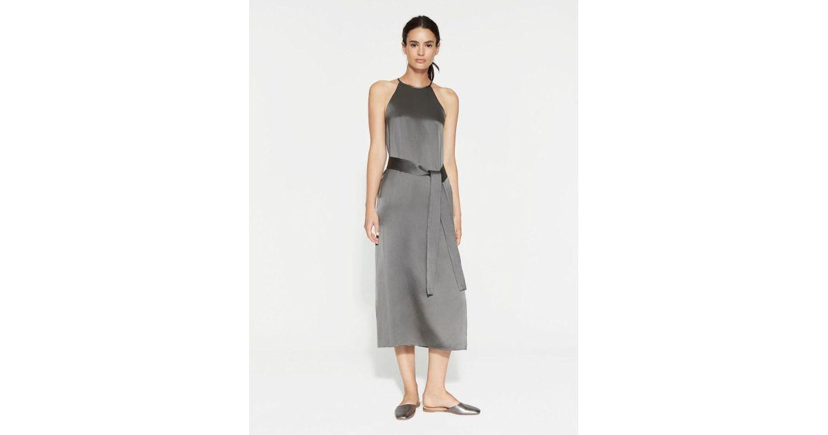 38fbb8275e74e Lyst - Halston Satin Slip Dress in Gray