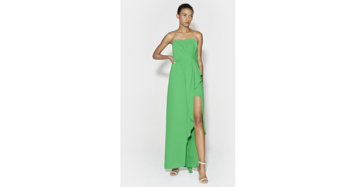 Lyst - Halston Heritage Strapless Ruffle Front Gown in Green