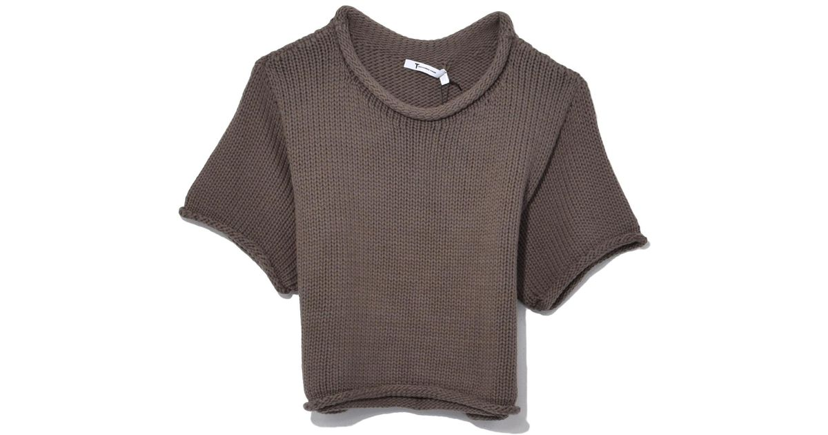 102cdce63e10 T By Alexander Wang Open Stitch Knit Cropped Sweater In Sage in ...