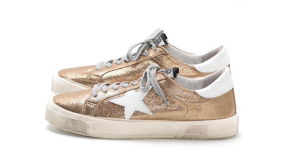 a5bcc0dbafb8c Golden Goose Deluxe Brand May Cracked Leather Sneakers in Metallic - Lyst