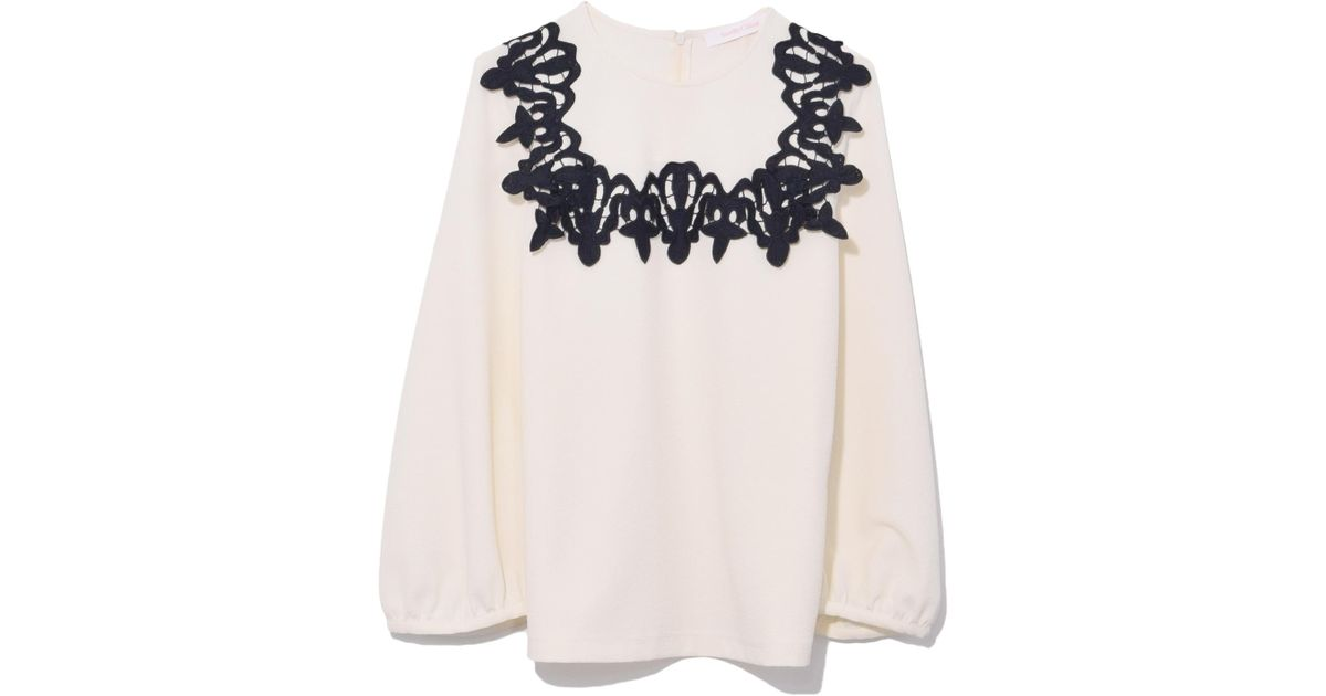 See by chloé blouse with lace applique in snow white in white lyst