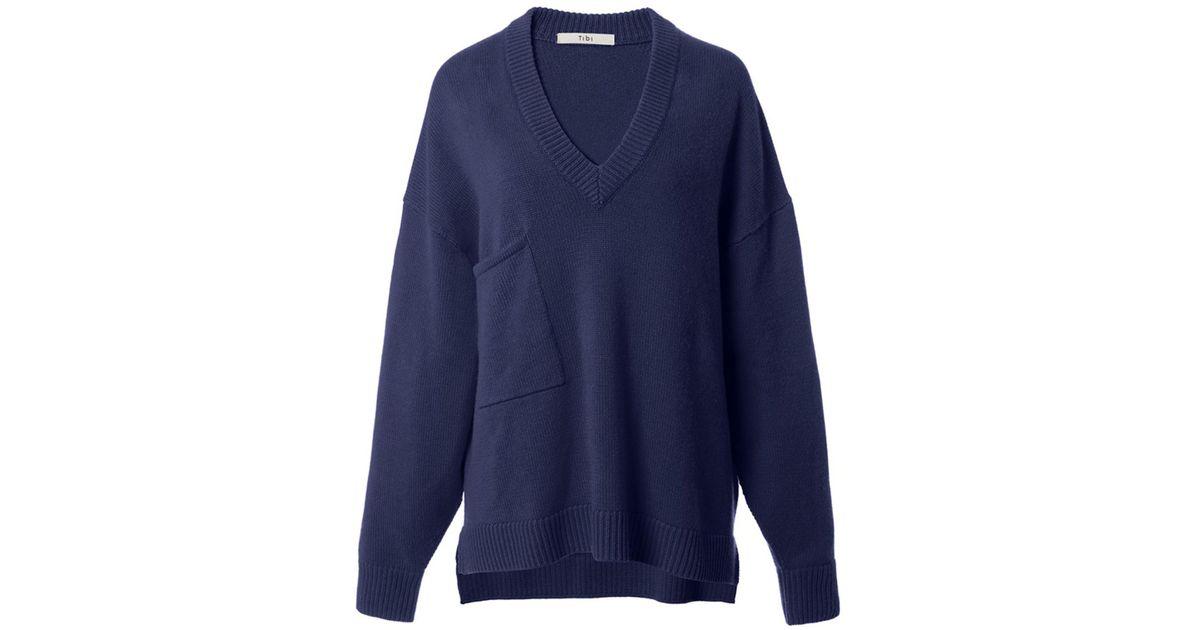 4b46ad26e66e8e Lyst - Tibi Cashmere Deep V-neck Oversized Pullover In Navy in Blue