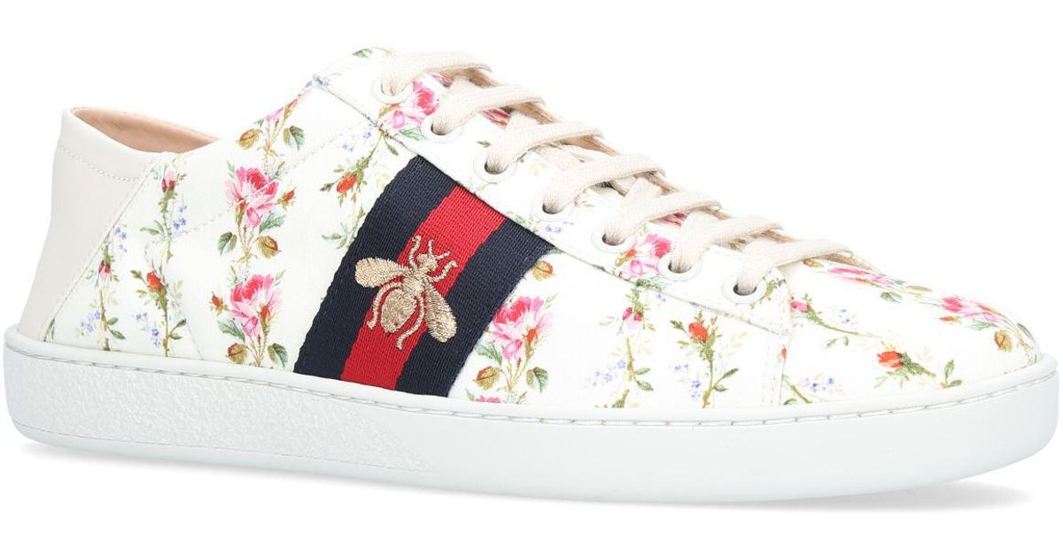 c7a02864b6d Lyst - Gucci Ace Rose Print Low-top Sneakers in White