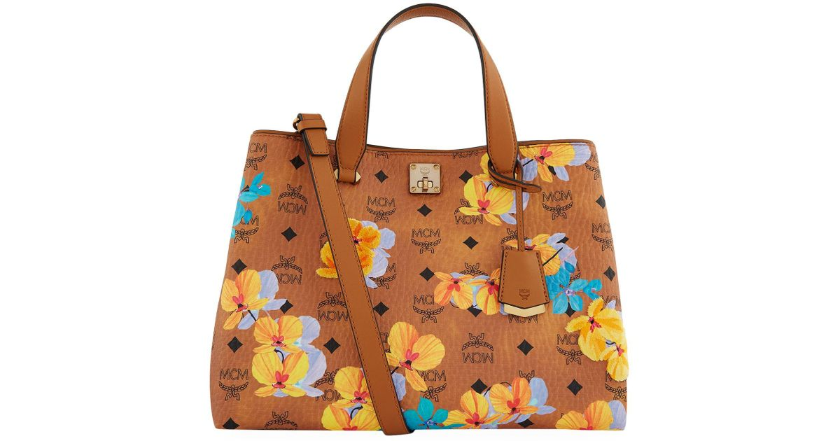 e4bf980e012 Lyst - MCM Large Floral Tote Bag in Brown