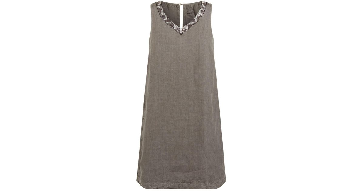 608391b099 Lyst - 120% Lino Embellished Linen Dress in Gray
