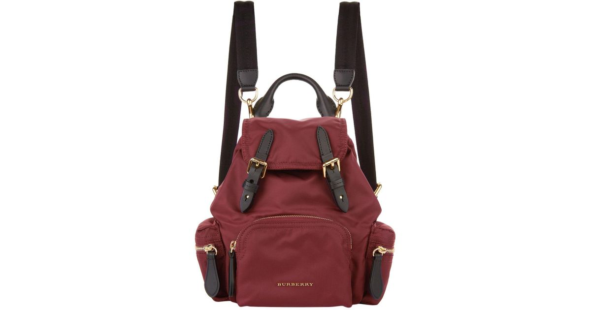 ca3aec929d96 Burberry Small Buckled Rucksack in Red - Lyst