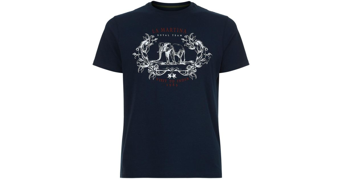 Lyst la martina visit to india print t shirt in blue for men for Gucci t shirts online india