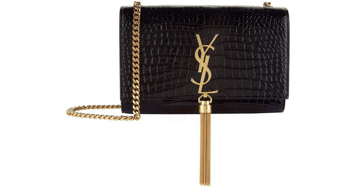Saint Laurent Small Croc-embossed Kate Tassel Bag in Black - Lyst 891a66292813