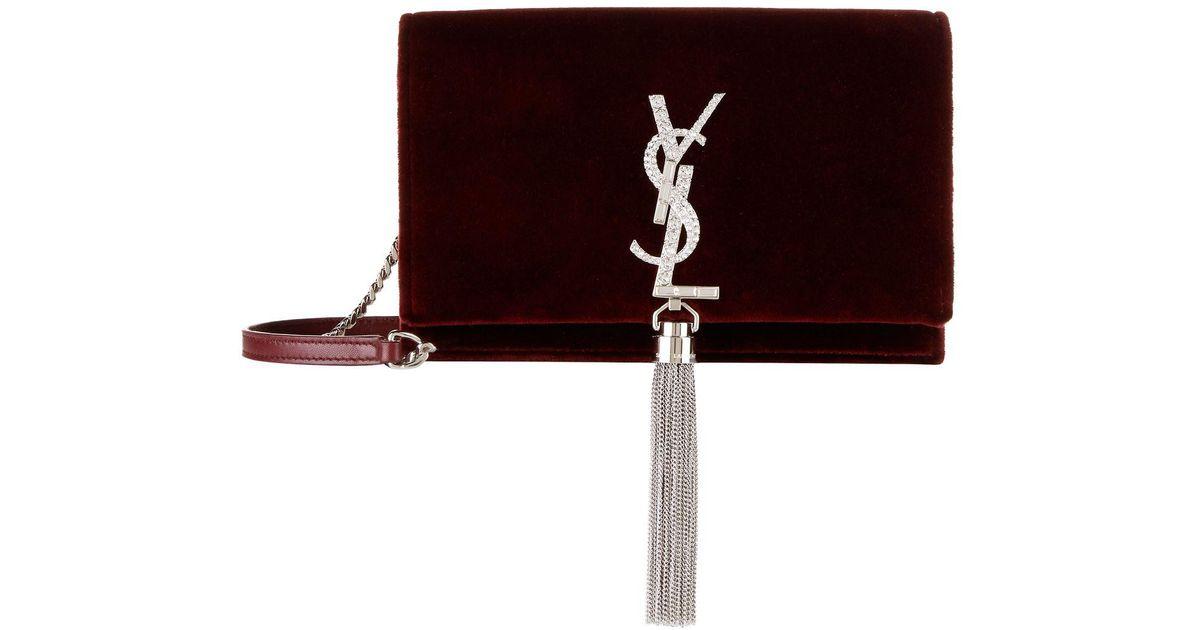 Saint Laurent Mini Velvet Kate Tassel Shoulder Bag in Red - Lyst e5f816f554657