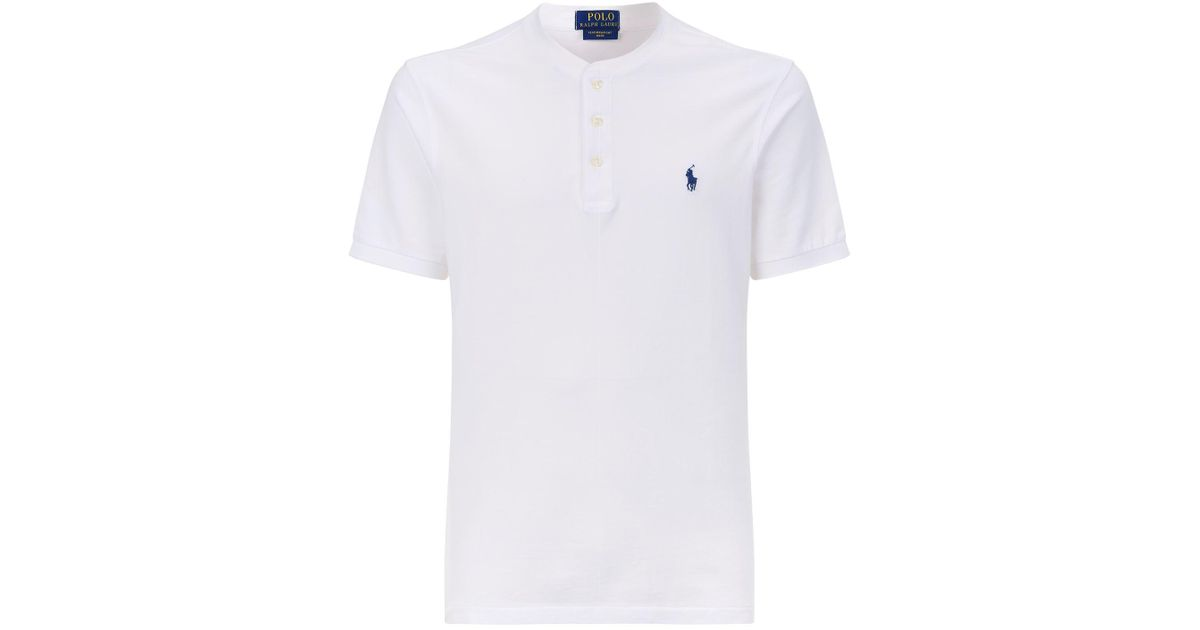 1df70e1c Polo Ralph Lauren Weathered Collarless Polo Shirt in White for Men - Lyst