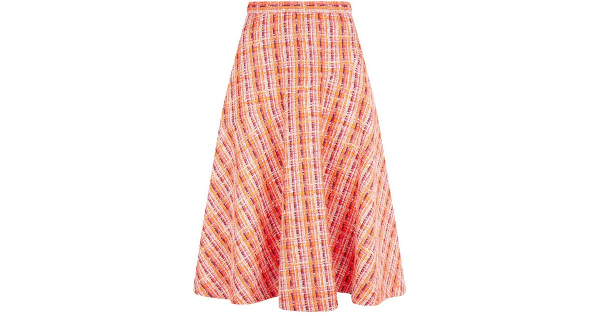 6c44ba9433 Delpozo Tweed Midi Skirt in Pink - Save 2% - Lyst