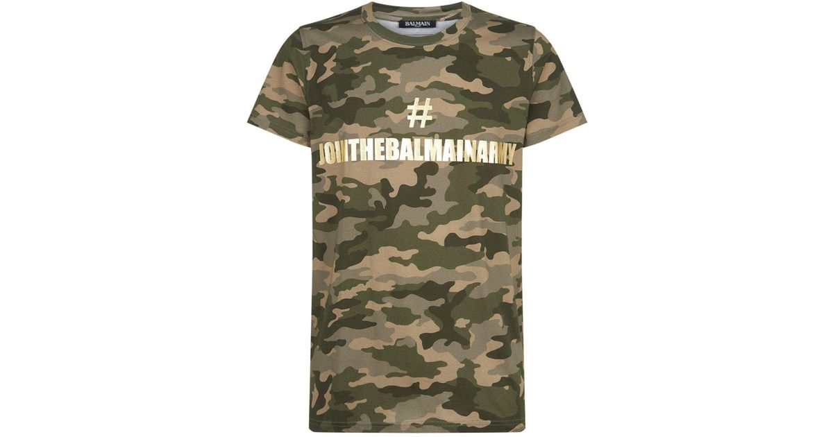 Shirt Men T Army In Lyst Balmain Join The Green For hQsrtdCx