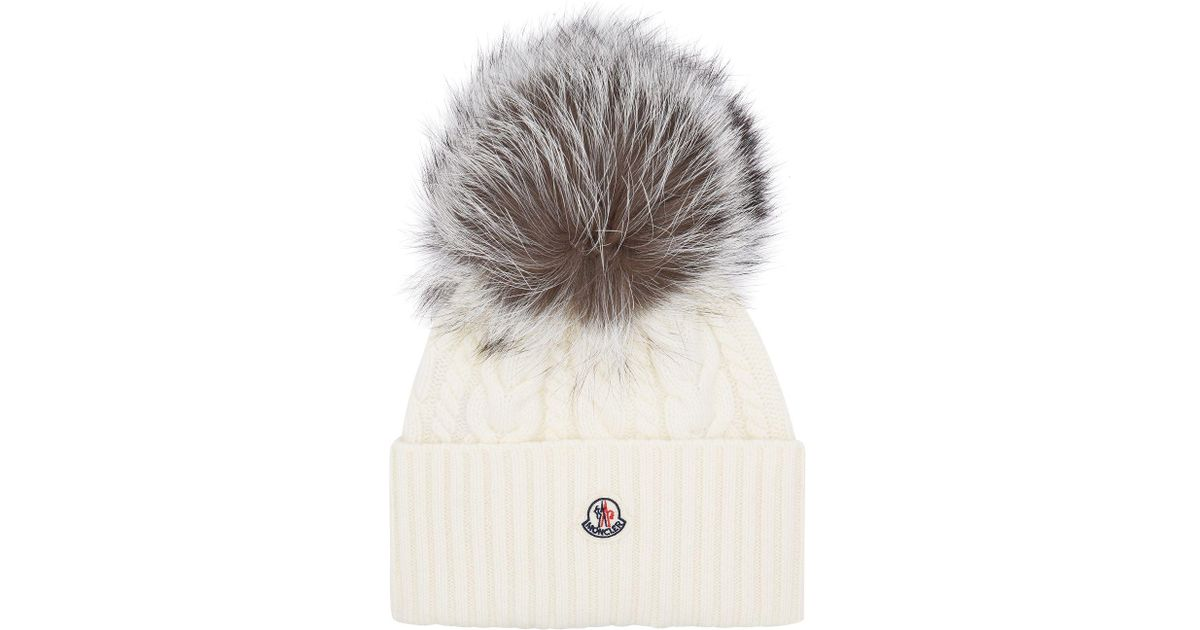 Moncler Fox Fur Bobble Hat in White - Lyst cac5115e788b