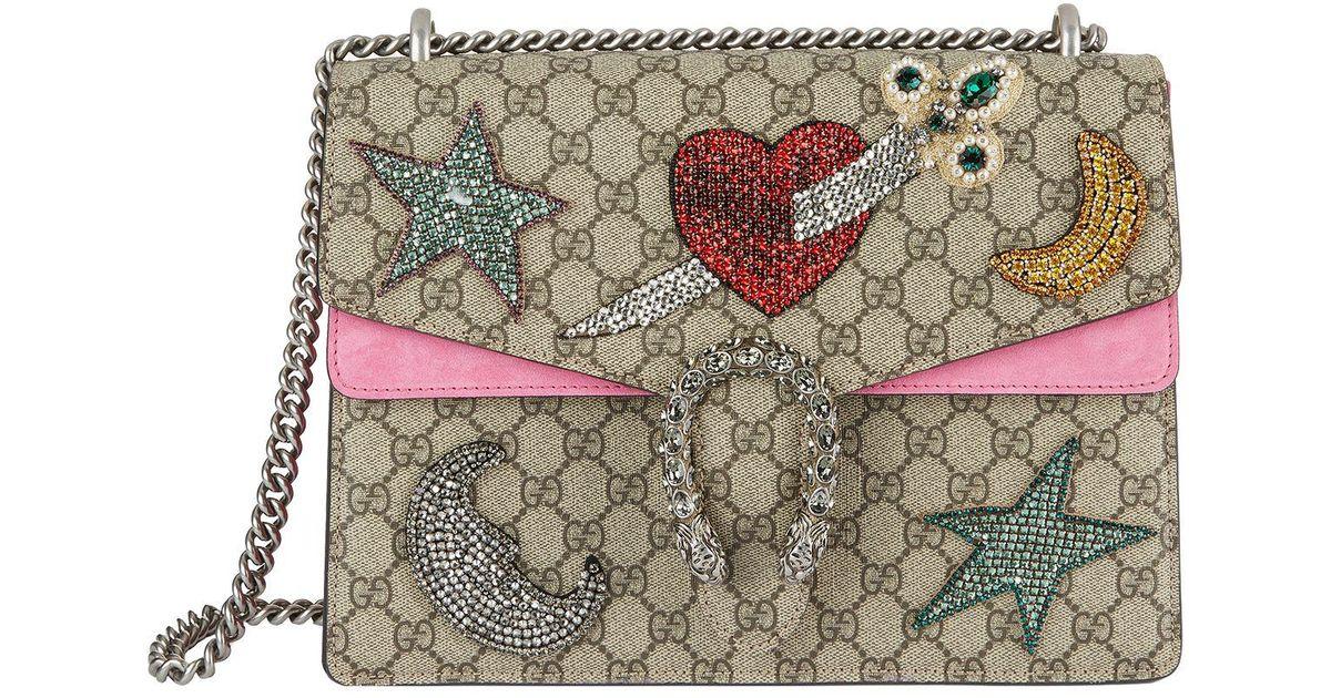 a14d4cae86cd Gucci Medium Embellished Dionysus Shoulder Bag in Red - Lyst