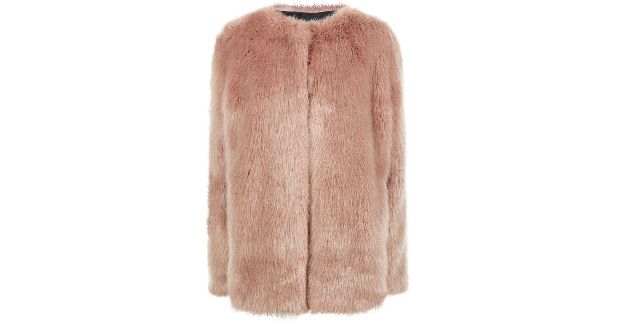 c605a83d1d78 Pinko Faux Fur Coat in Pink - Lyst