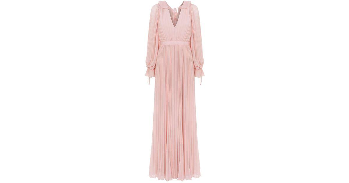 1eed2c0b9a2e Self-Portrait Chiffon Pleated Maxi Dress in Pink - Lyst