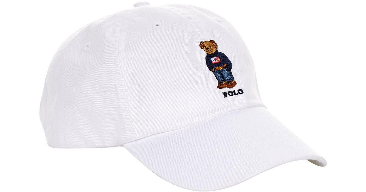 a404be7f Polo Ralph Lauren Embroidered Bear Cap in White for Men - Lyst