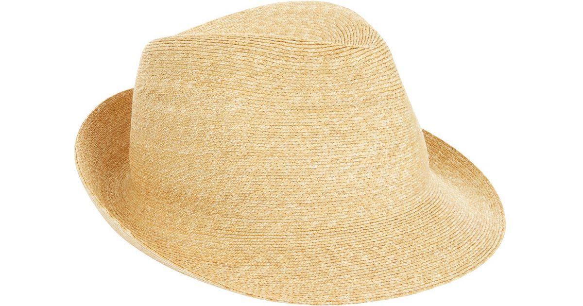 Lyst - Philip Treacy Logo Pin Trilby Hat in Natural 990f496fb82e