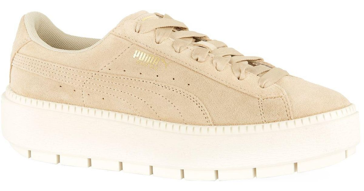 info for 02998 e290c PUMA - Green Suede Platform Trace Sneakers - Lyst