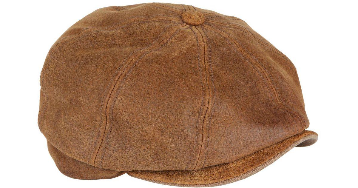 Lyst - Stetson Burney Worn Leather Flat Cap in Brown for Men f43fd22fff4